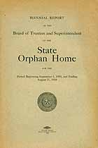 Thumbnail image of Texas State Orphan Home 1909/10 Report cover