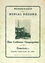 Thumbnail image of Zion Lutheran Congregation Membership & Burial Records cover
