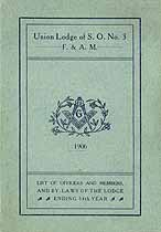 Thumbnail image of Union Lodge of S. O., F. & A. M. 1906 Roster cover