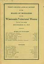 Thumbnail image of Wisconsin Veterans' Home 1919 Report cover