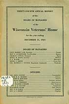 Thumbnail image of Wisconsin Veterans' Home 1921 Report cover