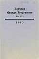 Thumbnail image of Boylston Grange Programme, No. 111 cover