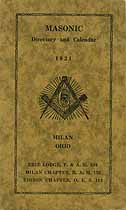 Thumbnail image of Milan Masonic Directory and Calendar for 1921 cover