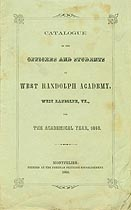 Thumbnail image of West Randolph Academy 1860 Catalogue cover