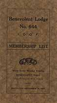 Thumbnail image of Benevolent Lodge, Number 644 of I.O.O.F. 1915 Membership cover