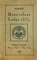 Thumbnail image of Benevolent Lodge, F. & A. M. 1927 Roster cover