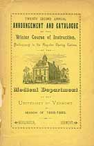 Thumbnail image of Univ. of Vermont Medical 1888-89 Winter Catalogue cover
