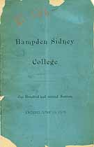 Thumbnail image of Hampden Sidney College 1878 Catalogue cover