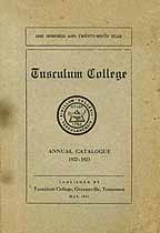 Thumbnail image of Tusculum College 1922-23 Catalogue cover