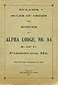 Thumbnail image of Alpha Lodge K. of P. 1898 By-Laws cover