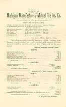 Thumbnail image of Michigan Manufacturers' Mutual Fire Ins. 1899 Report cover