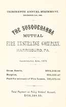 Thumbnail image of Susquehanna Mutual Fire Ins. Company 1885 Statement cover