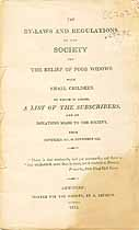 Thumbnail image of Poor Widows Relief Society 1813 By-Laws cover