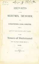 Thumbnail image of Richmond NH Tax Book and Report for 1882 cover
