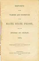 Thumbnail image of Maine State Prison 1874 Report cover