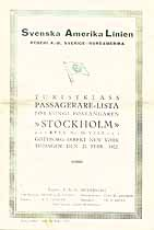 Thumbnail image of Stockholm 1922 Souvenir Passenger List (Goteburg to NY) cover