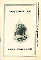 Thumbnail image of SS Republic 1925 Souvenir Passenger List (Bremen to NY) cover