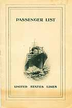 Thumbnail image of SS Republic 1925 Souvenir Passenger List (Bremen to NY) [#2] cover