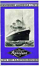 Thumbnail image of Resolute 1927 Souvenir Passenger List (Hamburg to NY) cover