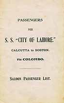 Thumbnail image of City of Lahore 1919 Souvenir Passenger List (Calcutta to Boston) cover
