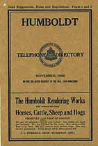 Thumbnail image of Humboldt Iowa 1929 Telephone Directory cover