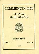 Thumbnail image of Ithaca High School 1931 Commencement cover