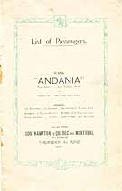Thumbnail image of RMS Andania 1922 Souvenir Passenger List (Southampton to Canada) cover
