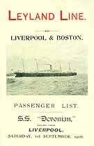 Thumbnail image of SS Devonian 1906 Souvenir Passsenger List (Liverpool to Boston) cover