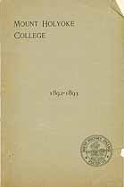 Thumbnail image of Mt. Holyoke College 1892-1893 Catalogue cover