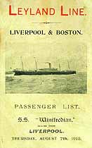 Thumbnail image of SS Winifredian 1913 Souvenir Passsenger List (Liverpool to Boston) cover