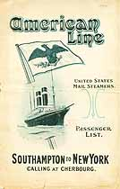 Thumbnail image of USMS New York 1914 Souvenir Passenger List (Southampton to NY) cover