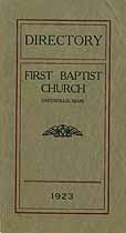 Thumbnail image of Greenfield First Baptist Church 1923 Directory cover