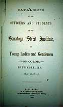 Thumbnail image of Saratoga Street Institute 1856 Catalogue cover