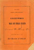 Thumbnail image of Greenwood College 1894-95 Announcement cover