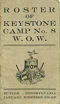 Thumbnail image of Keystone Camp, No. 8 W.O.W. 1908 Roster cover