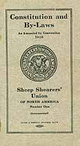 Thumbnail image of North American Sheep Shearers' Union 1916 By-Laws cover