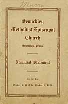 Thumbnail image of Sewickley Methodist Episcopal Church 1917-1918 Financials cover