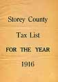 Thumbnail image of Storey County 1916 Tax List cover