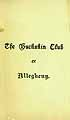 Thumbnail image of Allegheny Buckskin Club 1896 Year Book cover