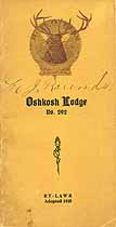 Thumbnail image of Oshkosh Lodge, No. 292, B.P.O.E. 1922 Members cover