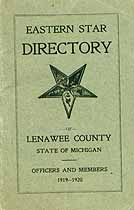 Thumbnail image of Lenawee County O.E.S. 1919-1920 Directory cover