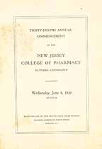 Thumbnail image of New Jersey College of Pharmacy 1930 Commencement cover