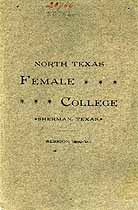 Thumbnail image of North Texas Female College 1889-90 Catalogue cover