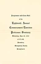 Thumbnail image of Perkiomen Seminary 1910 Commencement cover
