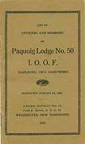Thumbnail image of Paquoig Lodge, No. 50, I.O.O.F. Members for 1929 cover