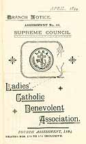 Thumbnail image of Ladies' Catholic Benevolent Association Assessments (1894-1895) cover