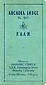 Thumbnail image of Arcadia Lodge No. 547, 1929 Roster cover