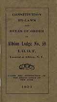 Thumbnail image of Albion Lodge No. 58, I.O.O.F. 1934 Roster cover