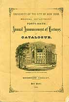 Thumbnail image of New York City University 1886-87 Medical Department Catalogue cover