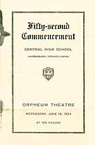 Thumbnail image of Harrisburg Central High School 1924 Commencement cover